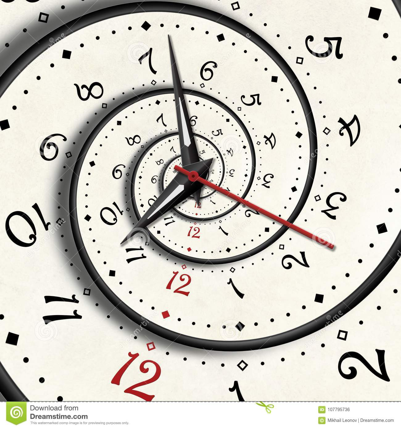 Unusual Clock Abstract Modern White Spiral Clock Fractal Clock Hands Pointers