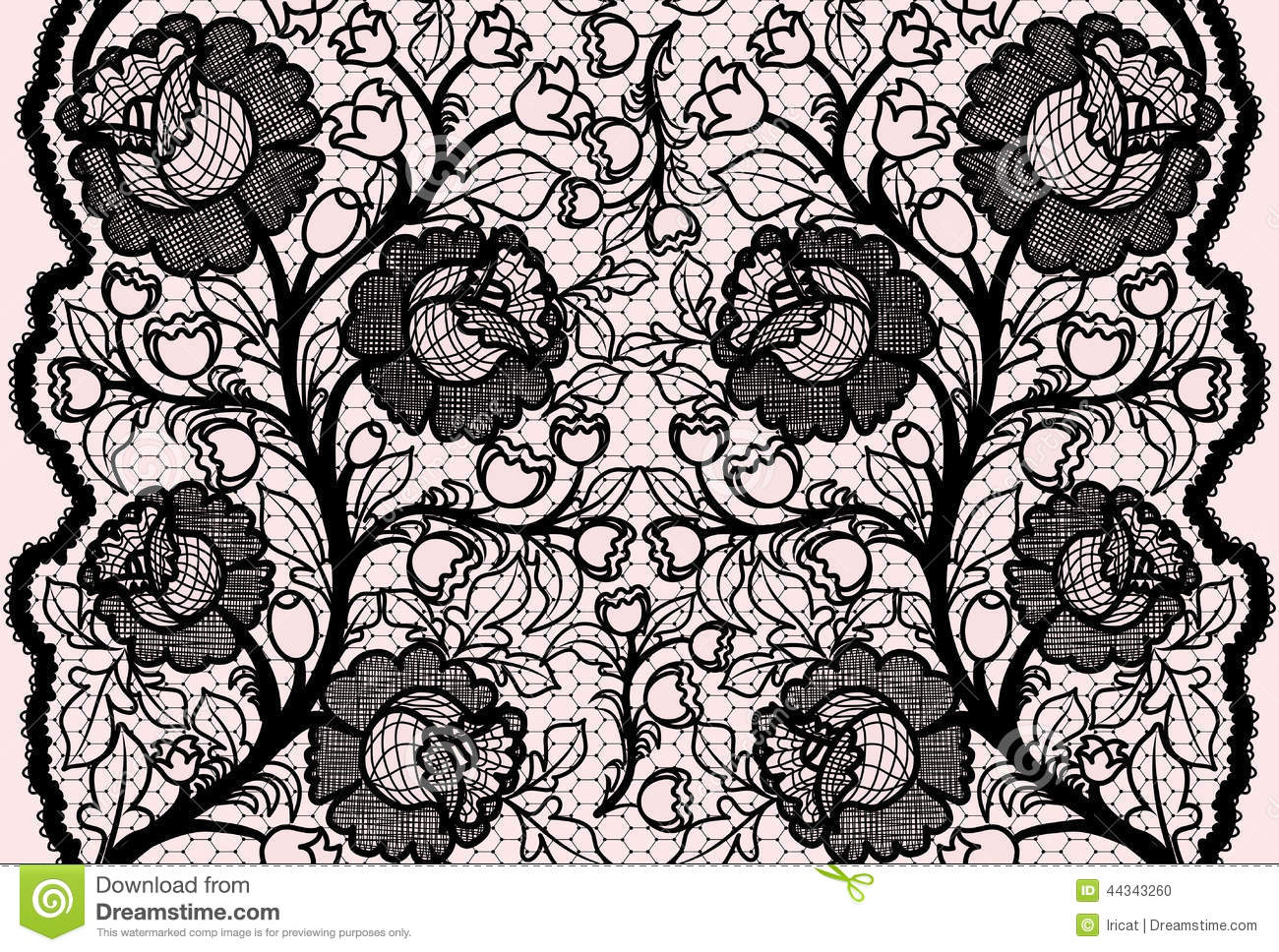 Black And Cream Damask Wallpaper Abstract Seamless Black Lace Ribbon With Feminine Floral