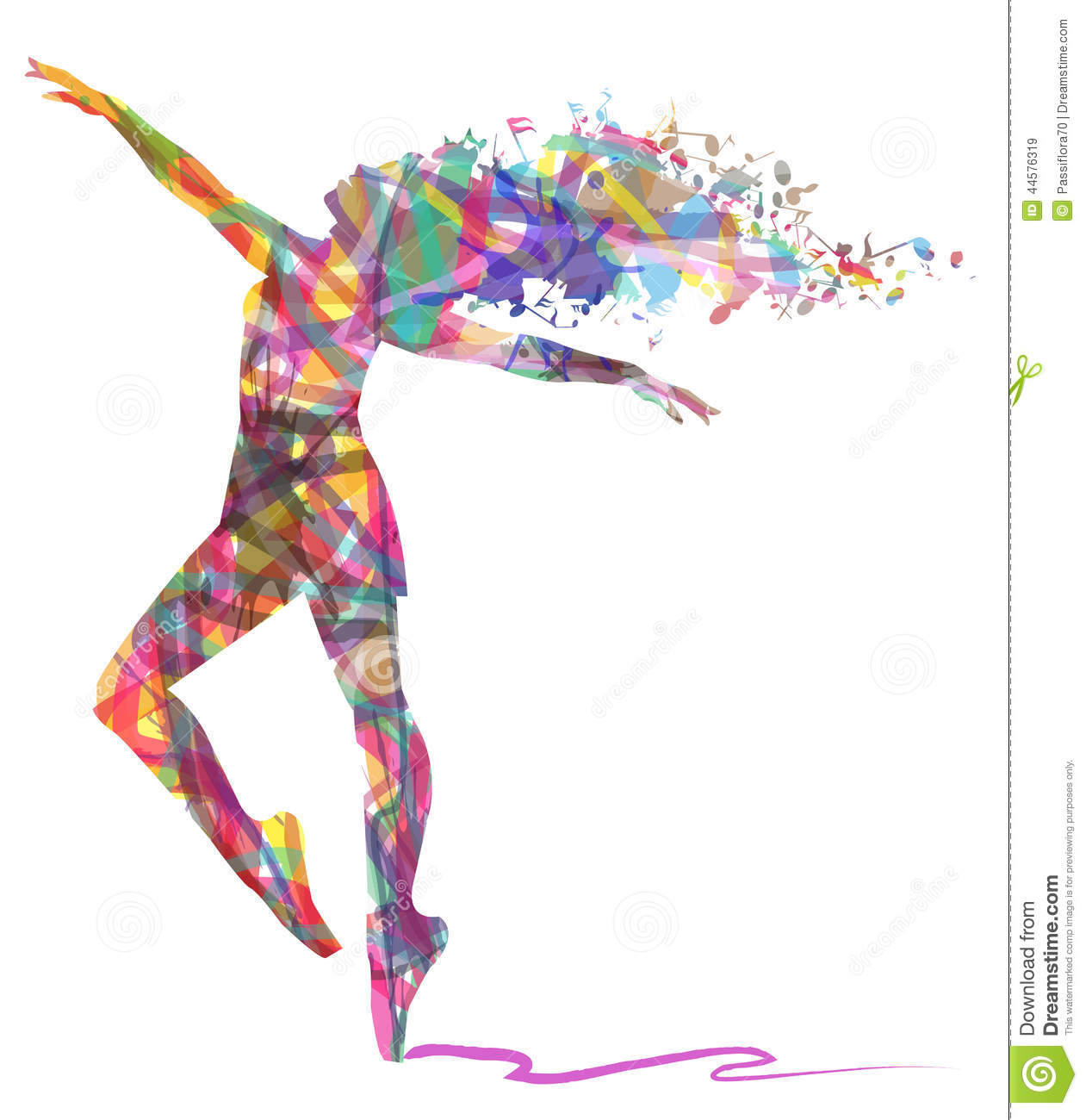 Abstract Painting Of Girl Dancing Abstract Silhouette Of Dancer And Musical Notes Stock