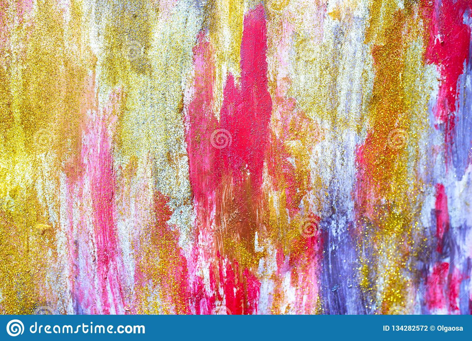 Bright Colours Painting Abstract Streams Of Paints On The Wall Stock Illustration