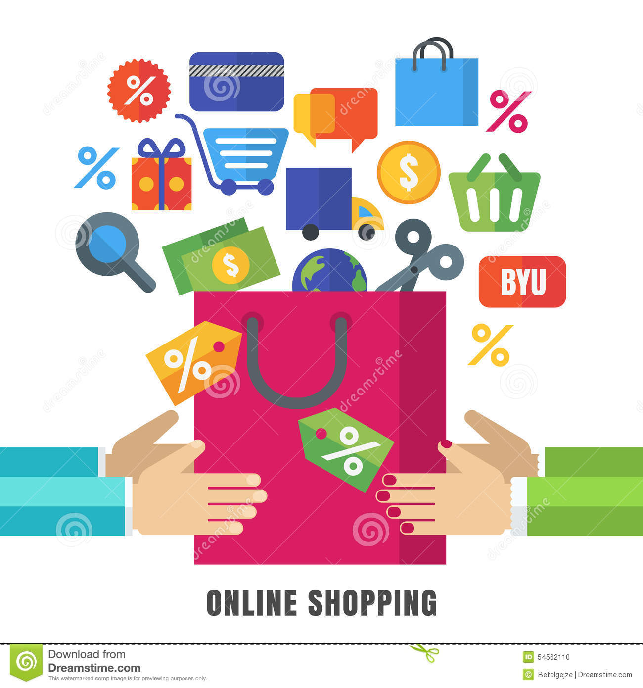 Online Decor Shopping Abstract Vector Background Hands With Shopping Bag And