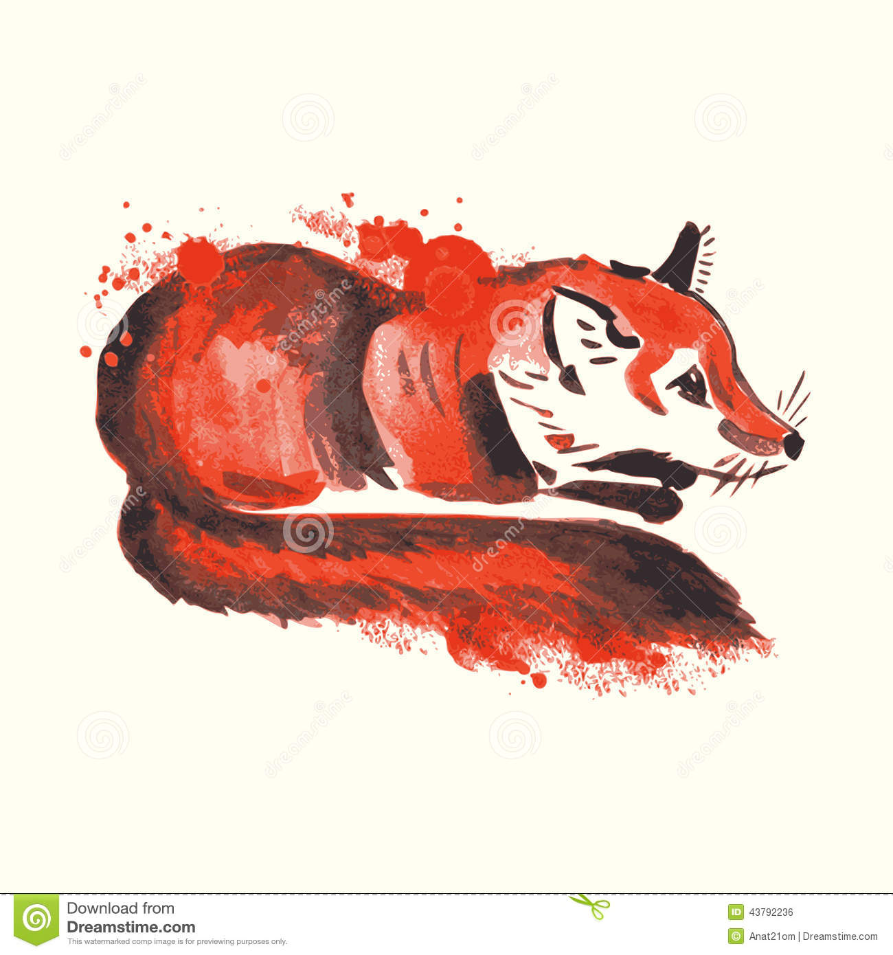 Abstract Fox Art Abstract Watercolor Fox Stock Vector Image 43792236