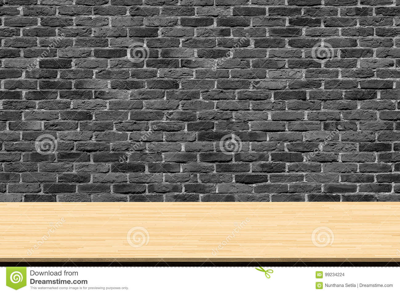 Adding Brick Wall Interior Abstract Wooden Table Texture On Brick Wall Background Stock Photo