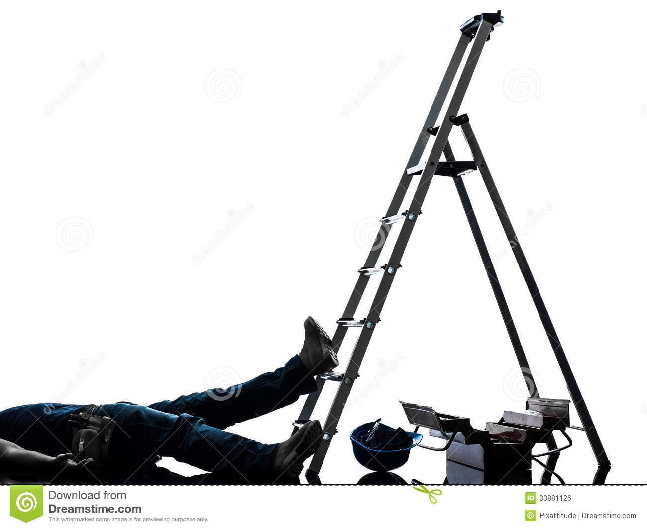 3d Man Falling Off A Ladder Stock Photography