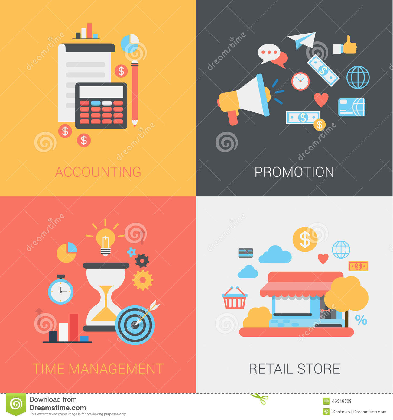 Store Banne Promotion Accounting Promotion Time Management Store Flat Web