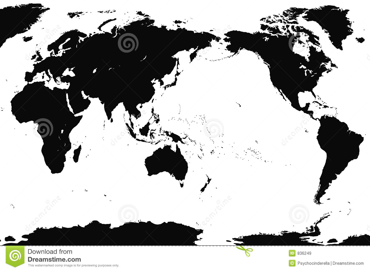Zwart Wit Wereldkaart Accurate World Map Detailed Royalty Free Stock Images