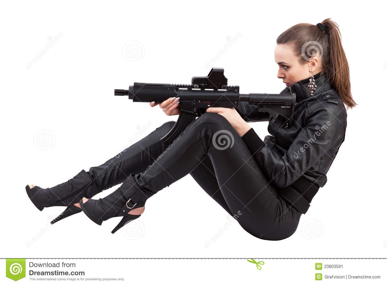 Danger Girl Wallpapers Free Action Girl Sitting Position Stock Image Image Of