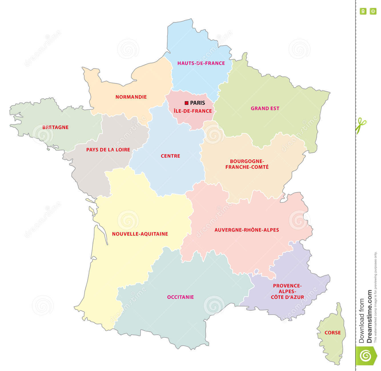 Regions De France Administrative Map Of The 13 Regions Of France Since 2016 Stock
