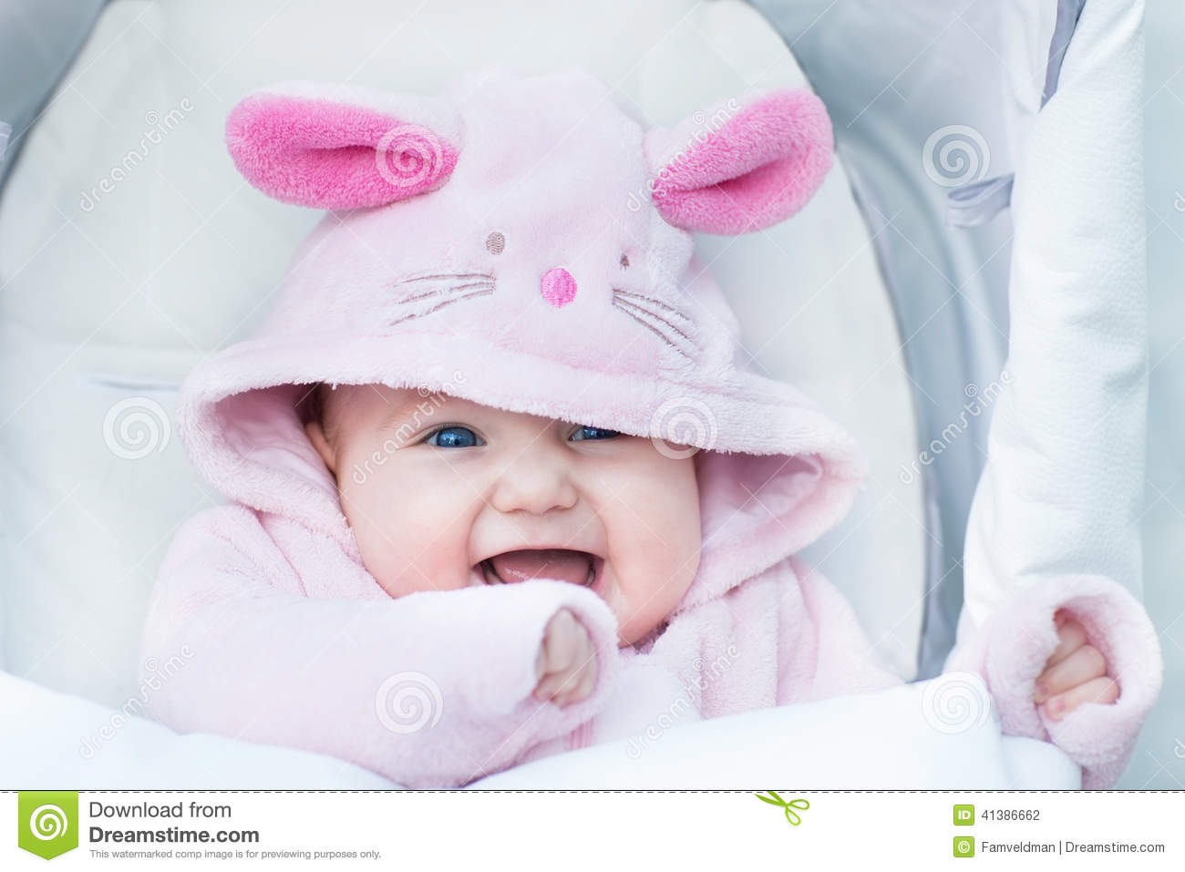 Small Cute Babies Hd Wallpapers Adorable Baby Girl In Stroller In Bunny Snow Suit Stock