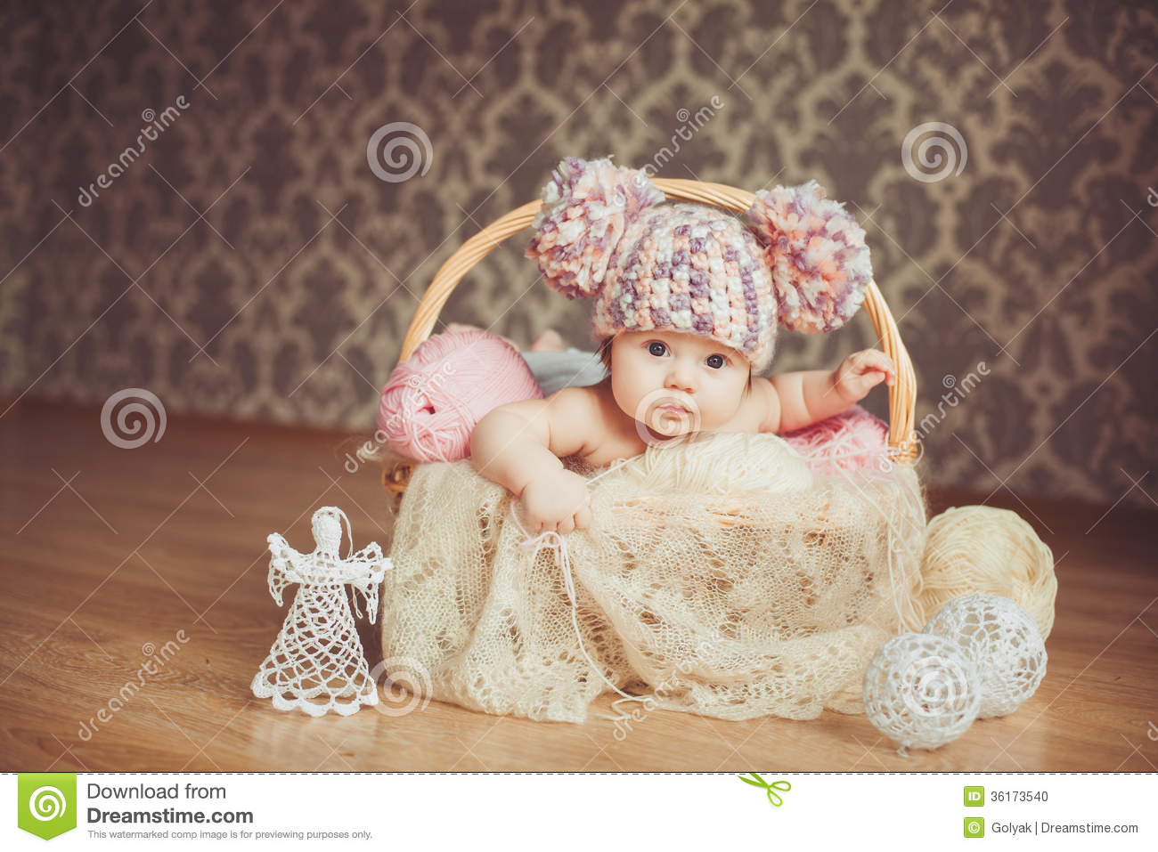 Sweet Little Girl Hd Wallpaper Adorable Smiling Newborn Baby Girl Lies In Basket Stock