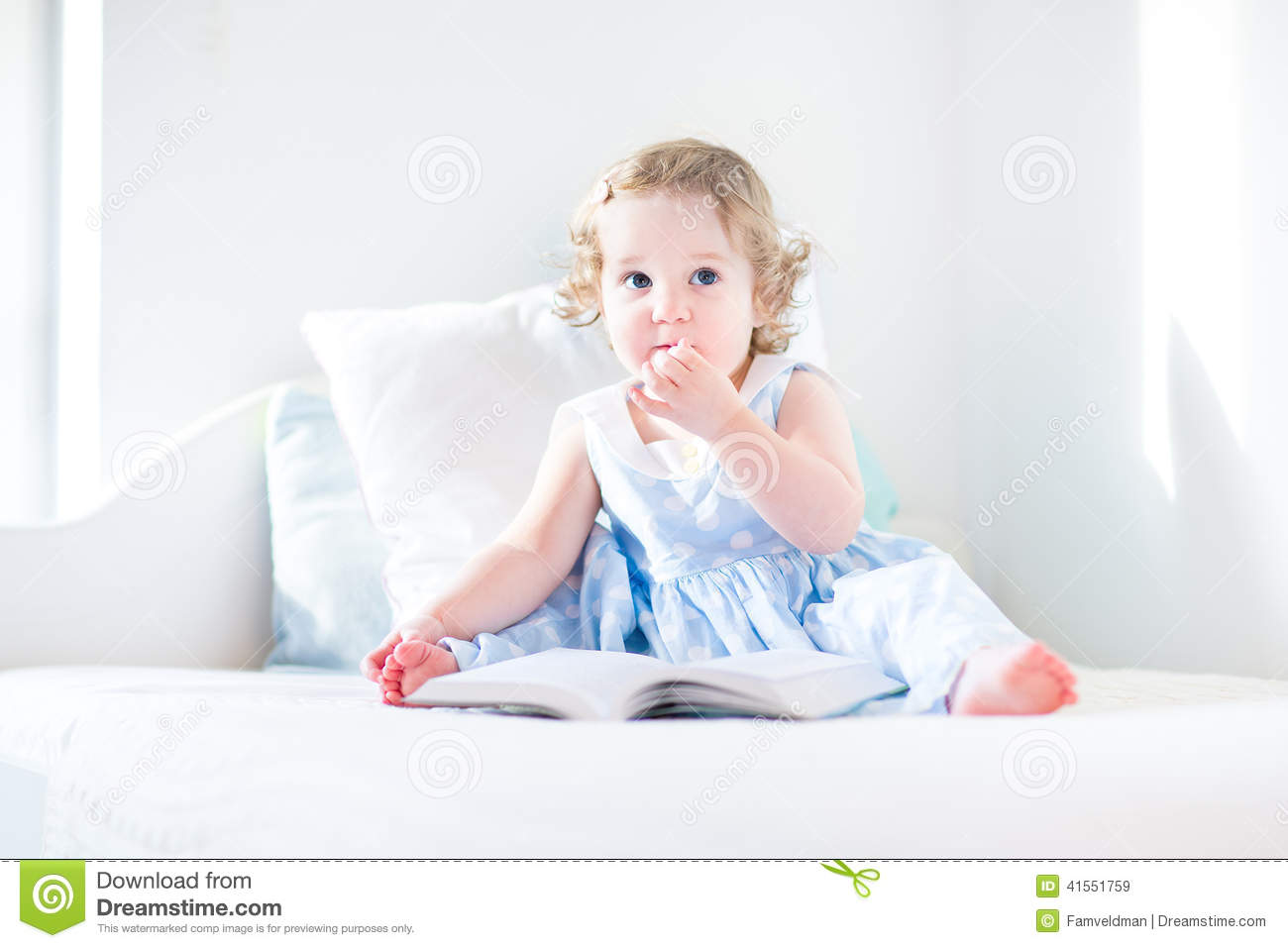 Cute Reading Chairs Adorable Toddler Girl Reading Book In Rocking Chair Stock