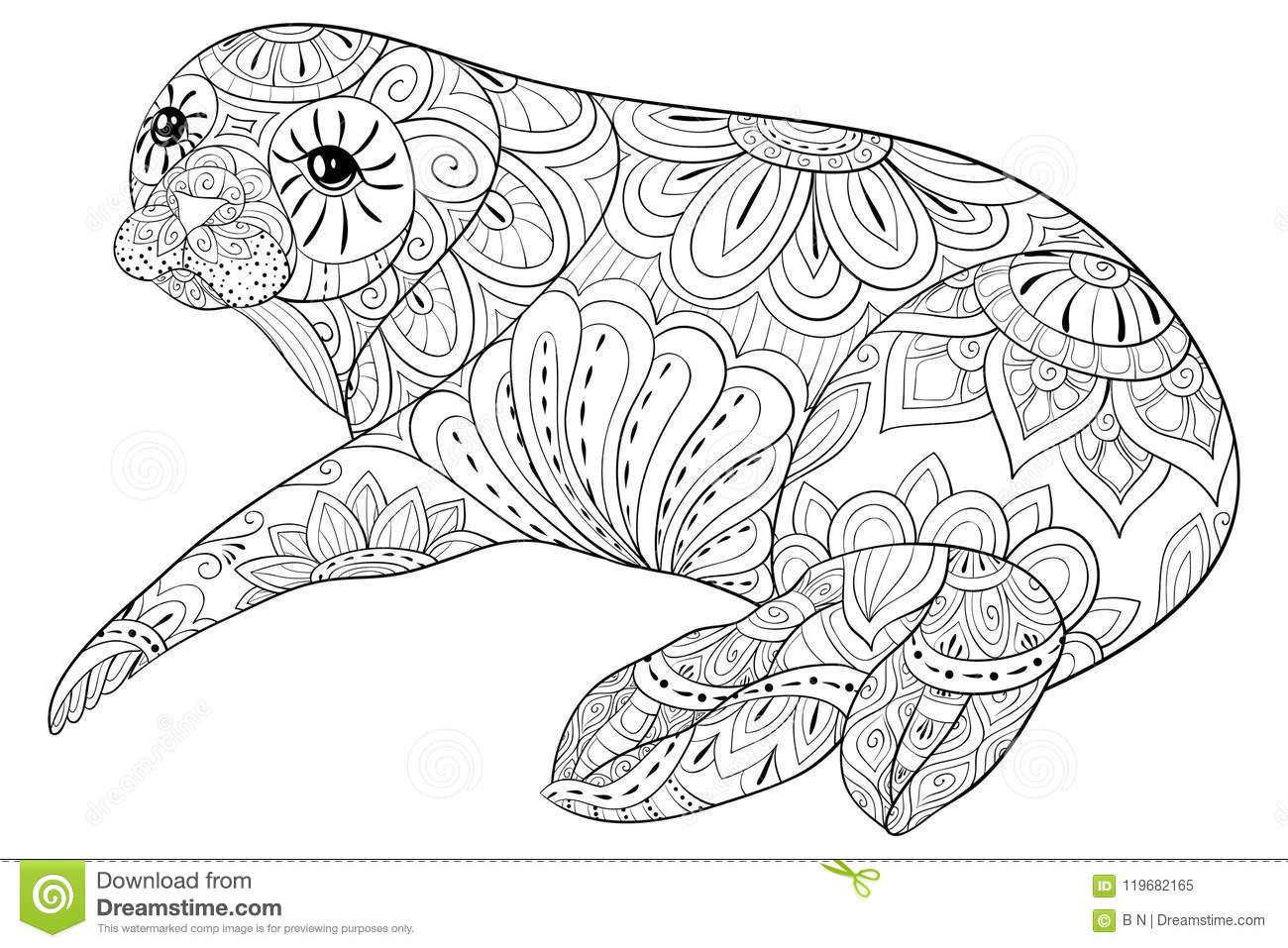 Graphic Stock Free Trial Adult Coloring Book Page A Cute Seal For Relaxing Zen Art