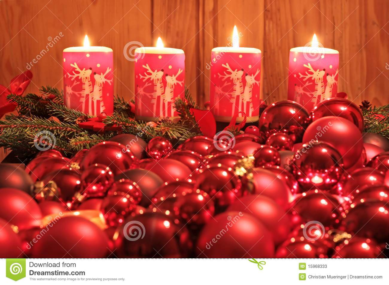 Bild Länglich Advent Candles And Christmas Balls Stock Image Image