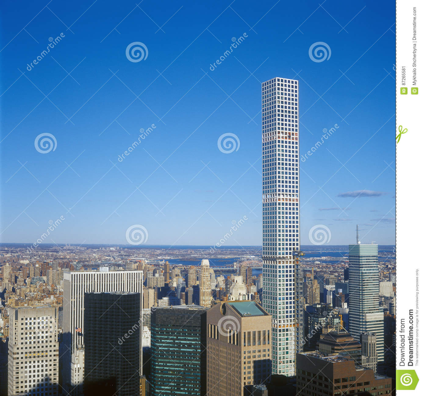 Tallest Residential Building Nyc Aerial View Of The New York City 432 Park Avenue Stock
