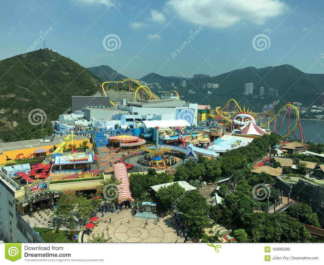 Tivoli Amusement Park Netherlands Roller Coaster At Ocean Park Hong Kong Editorial Photo