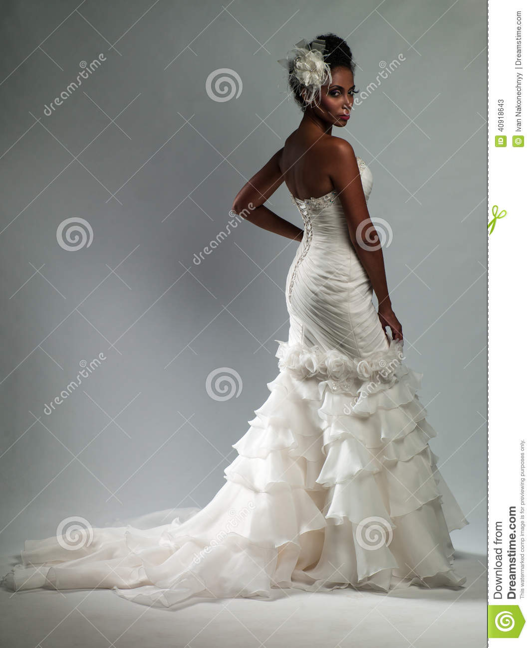 stock photo african american woman wedding dress young beautiful image african american wedding dresses African American woman in a wedding dress
