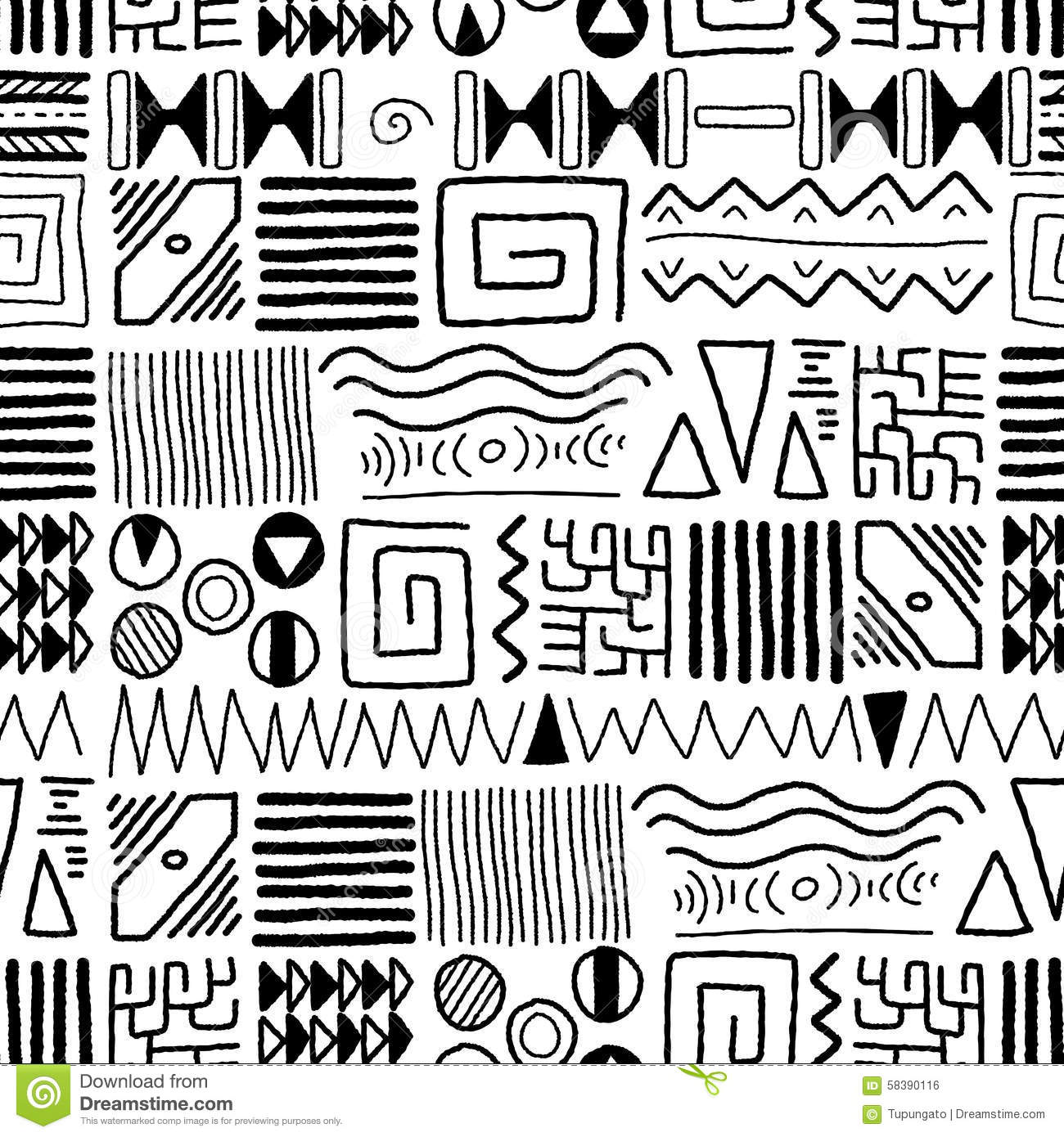 Cute Tribal Patterns Wallpaper African Pattern Stock Vector Image 58390116