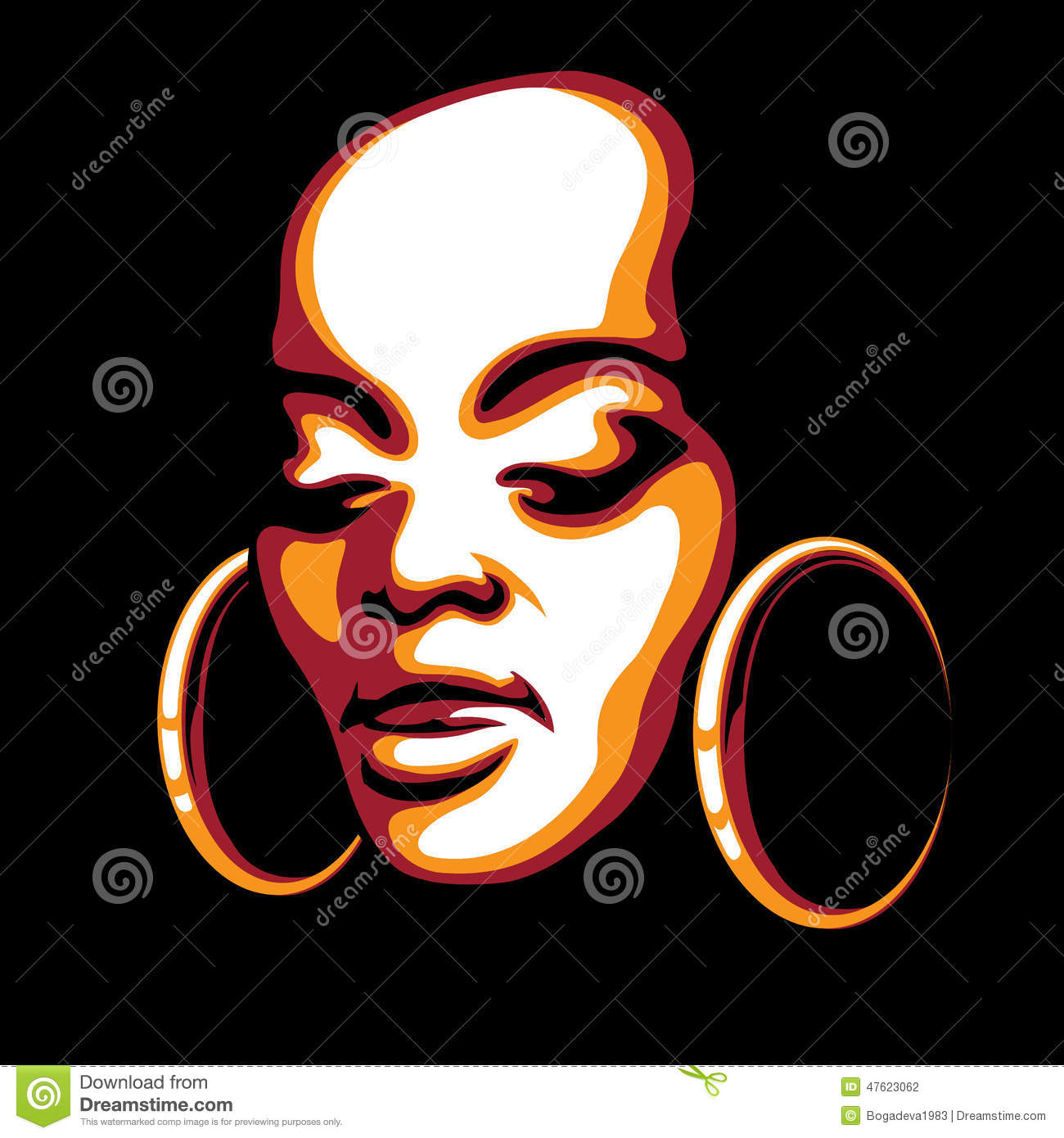 3d Stylish Girl Wallpaper African Woman Face Stock Vector Image 47623062
