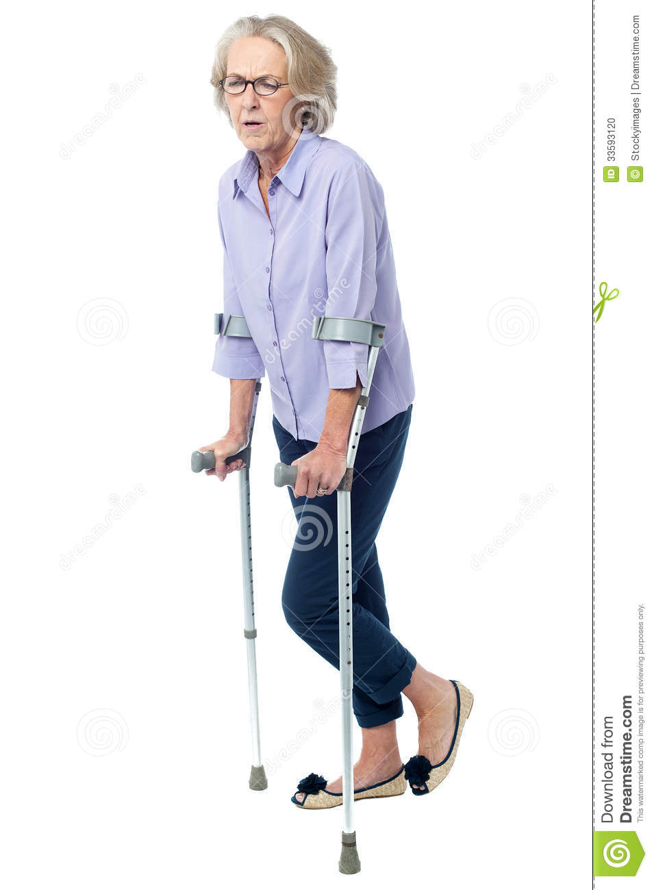 Running Jogging Music Download Aged Woman In Pain Walking With Crutches Stock Photo