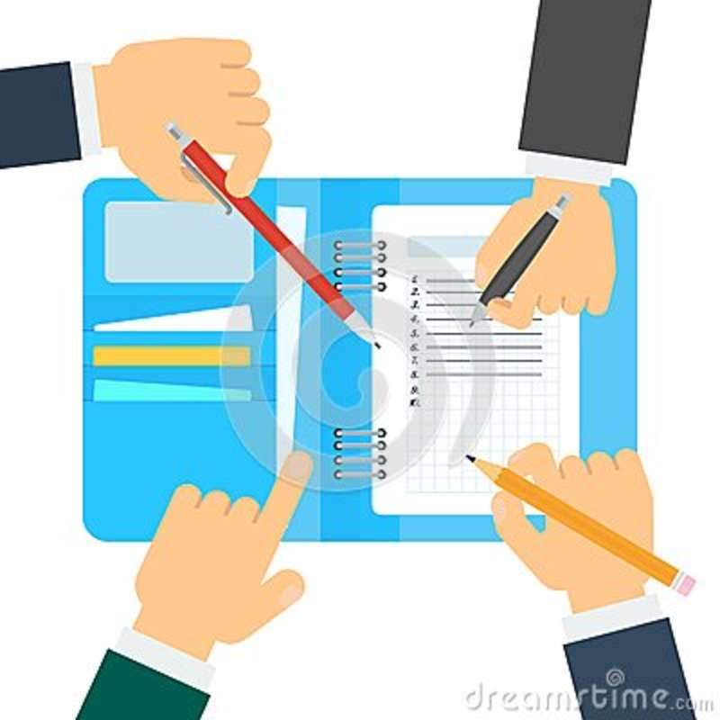 Agenda with hand on white stock vector Illustration of banner