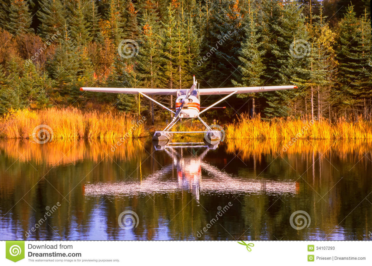 Fall Landscape Wallpaper Alaska Float Plane Moored At Dock Amid Foliage Reflections