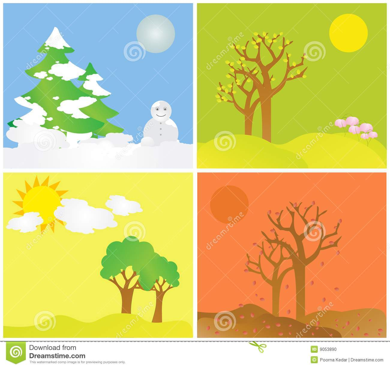 All Seasons All Seasons Stock Illustration Illustration Of Blossom