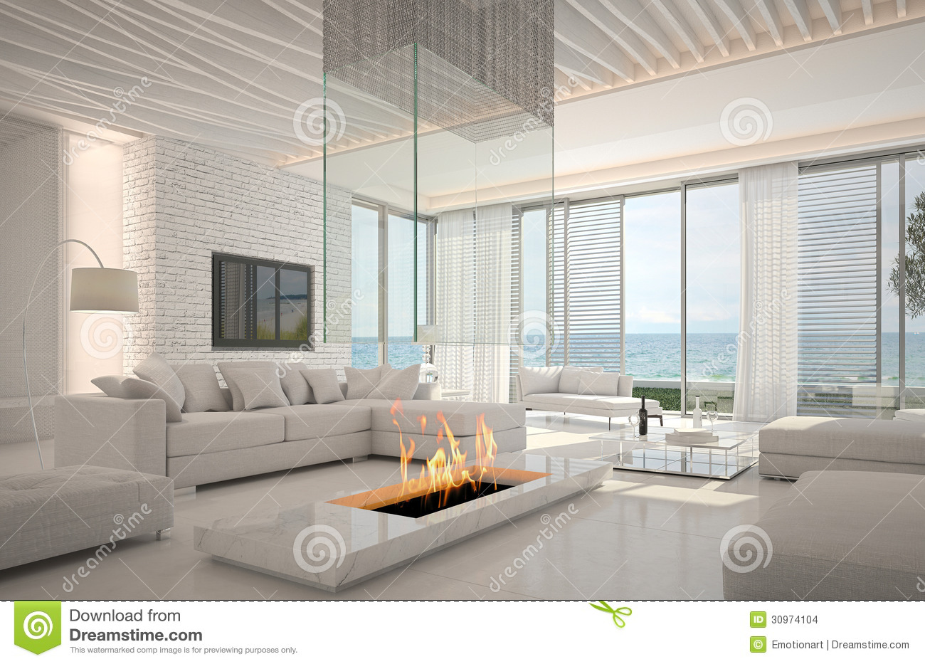 Amazing Living Rooms Amazing Loft Living Room Interior With Seascape View Stock