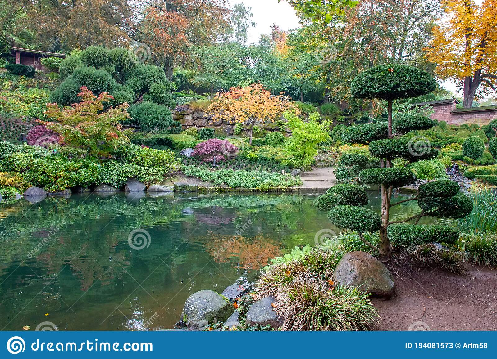 Amazing Water Fall In Japanese Garden In Autumn In Kaiserslautern In Germany Stock Image Image Of Fish Water 194081573