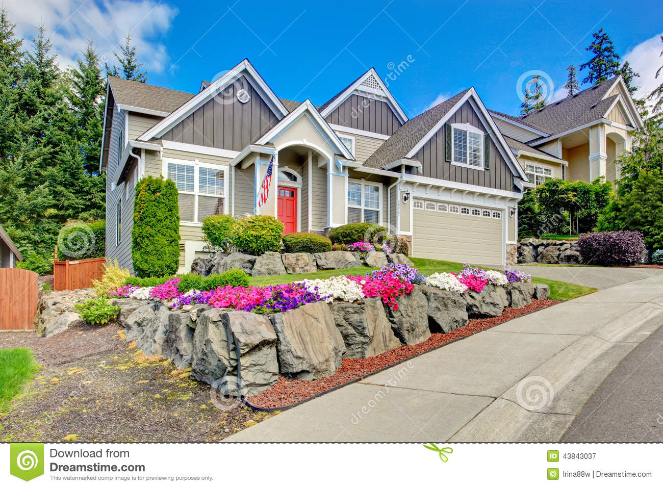 Beautiful Home Entrances American House With Beautiful Landscape And Vivid Flowers