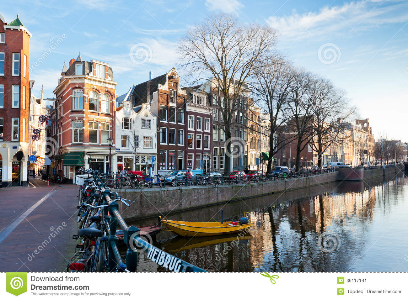 Dutch Dreams Amsterdam Canal Street View At Winter Stock Image - Image
