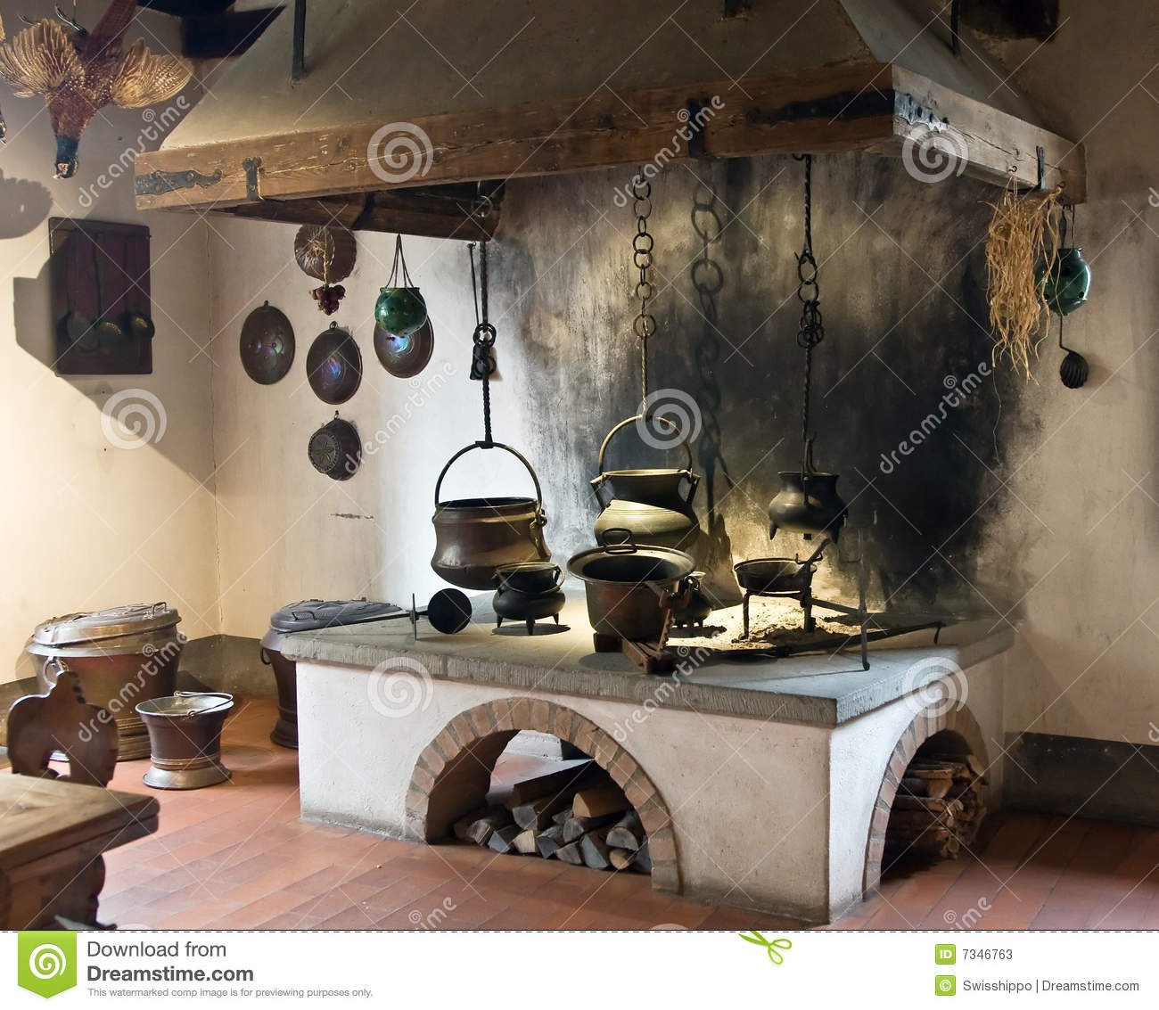 Cocina Medieval Ancient Kitchen Stock Image Image Of Oven Cook