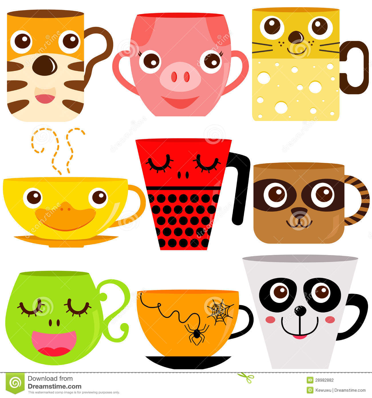 Animal Coffee Cups Animal Coffee Mugs Cups Stock Vector Illustration Of Mouse
