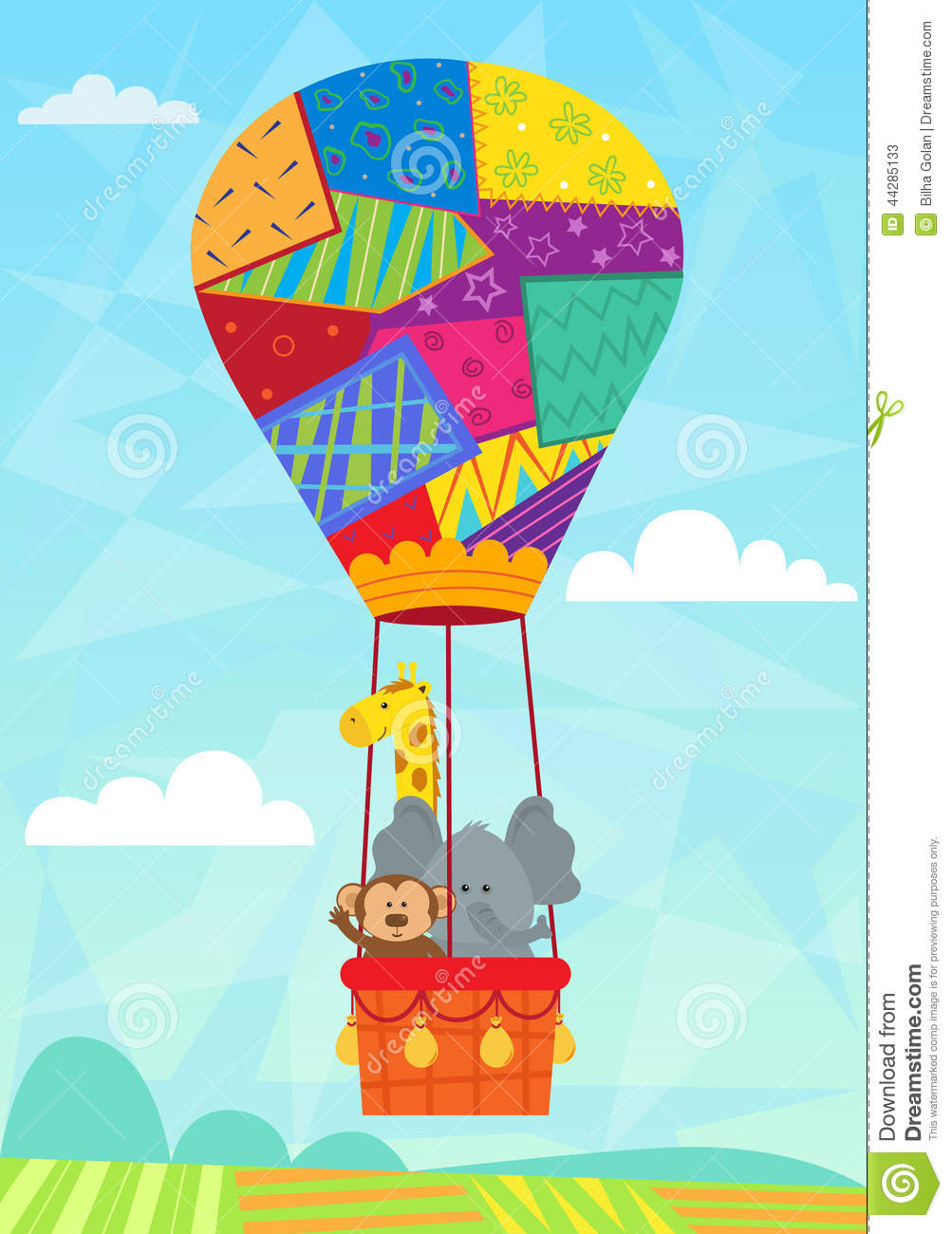 Air Max Elephant Animal In Hot Air Balloon Stock Vector Illustration Of