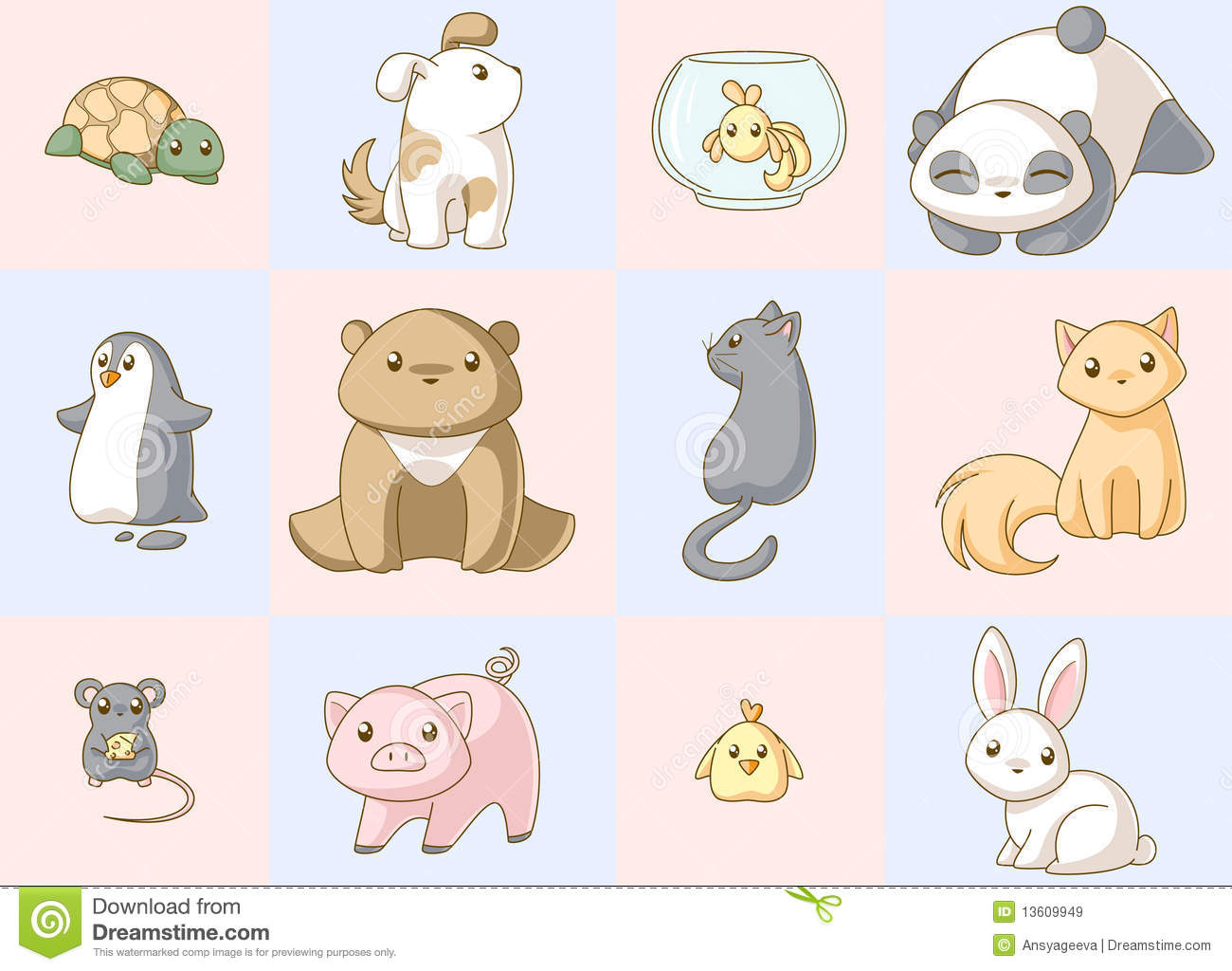 Cute Kitty Wallpapers Download Animals Kawaii Set Royalty Free Stock Images Image 13609949