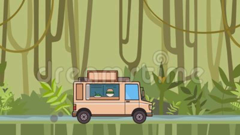 Animated Food Truck Riding Through Tropical Rainforest Moving