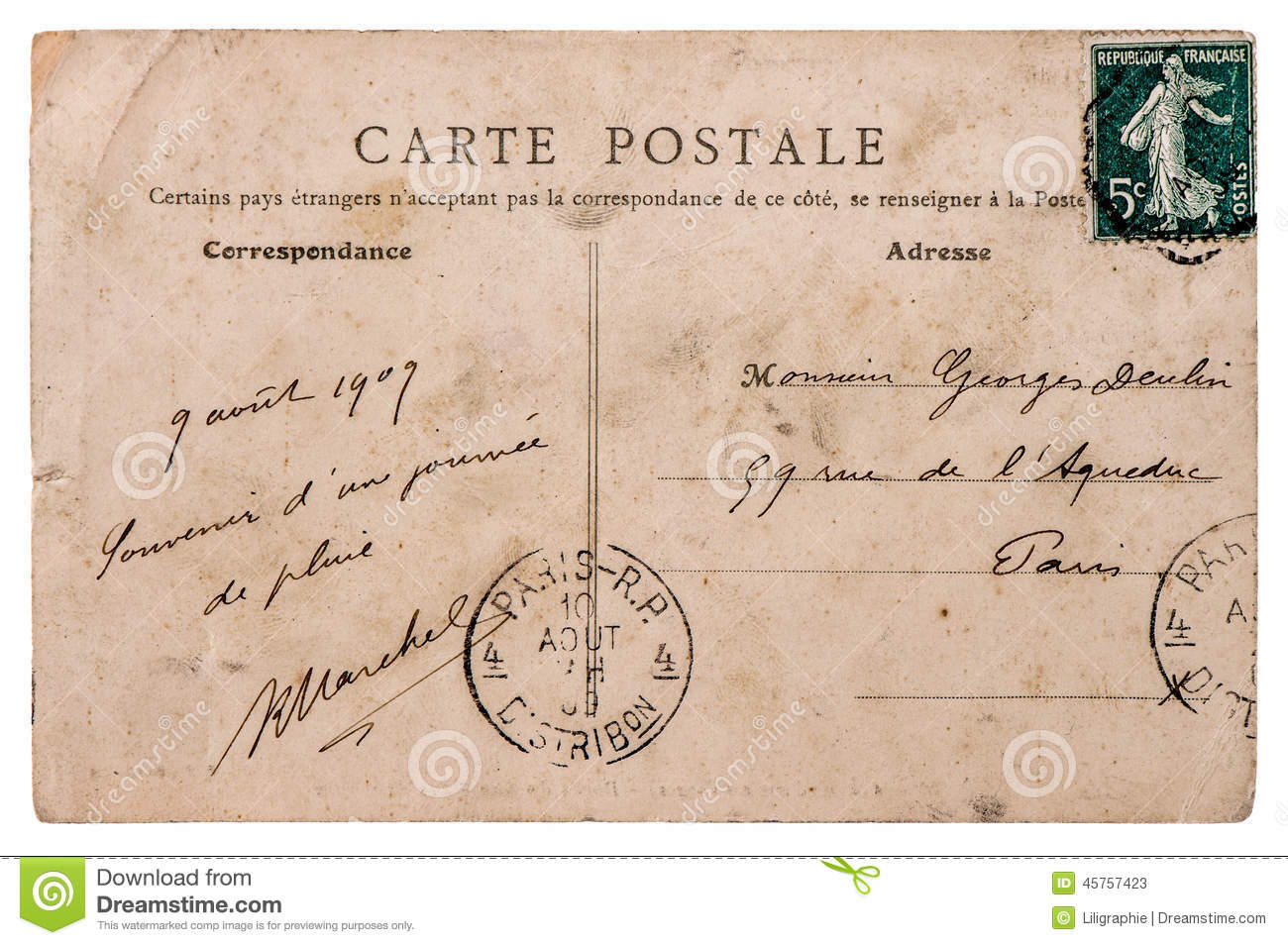 How Much Postage Do I Need To Put On A Regular Letter Sent Antique French Postcard With Stamp From Paris Stock Photo