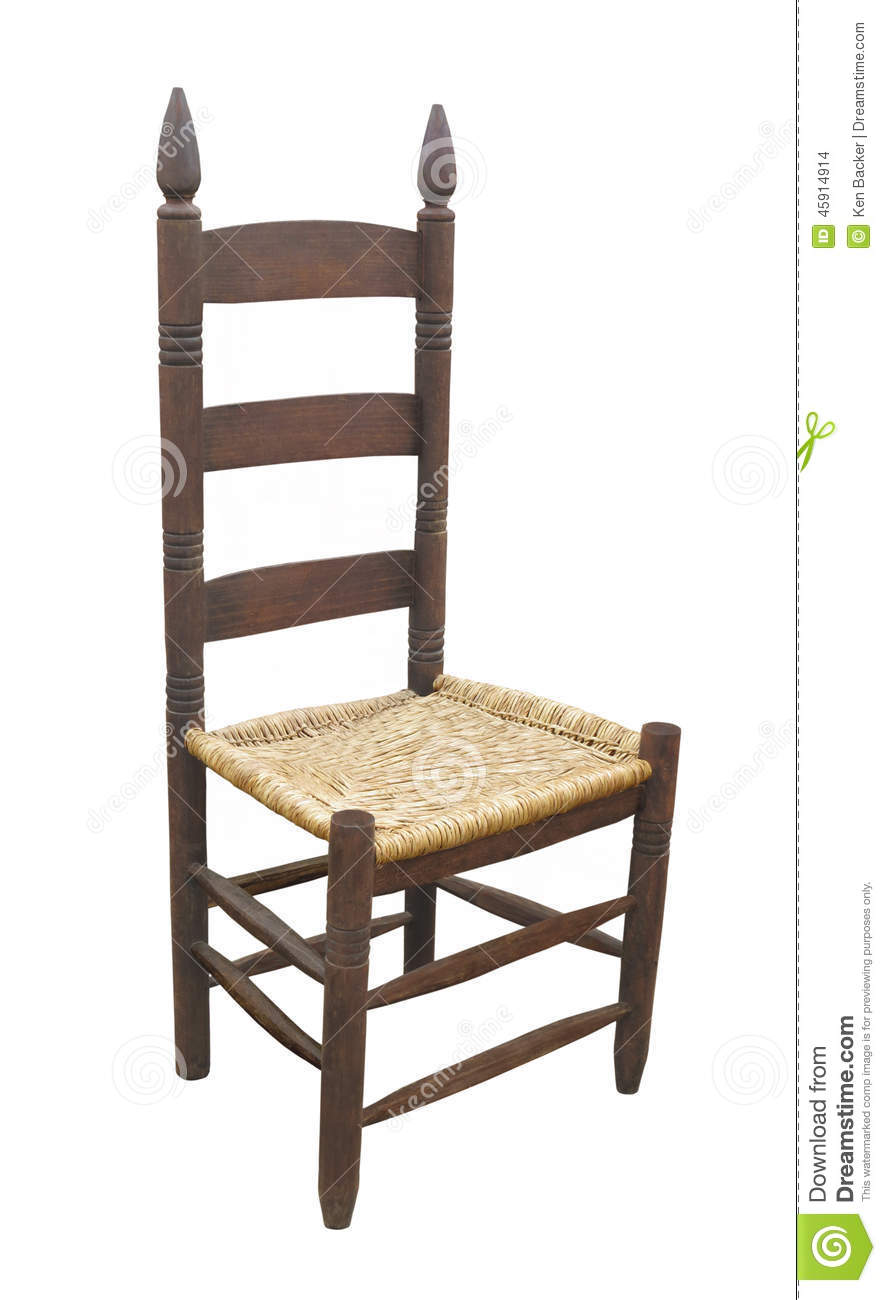 Antique ladder back chair isolated stock photo image