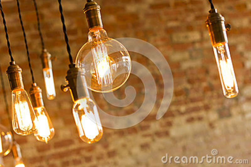 Hanging Edison Lights Antique Light Bulbs Stock Photo - Image: 51329274