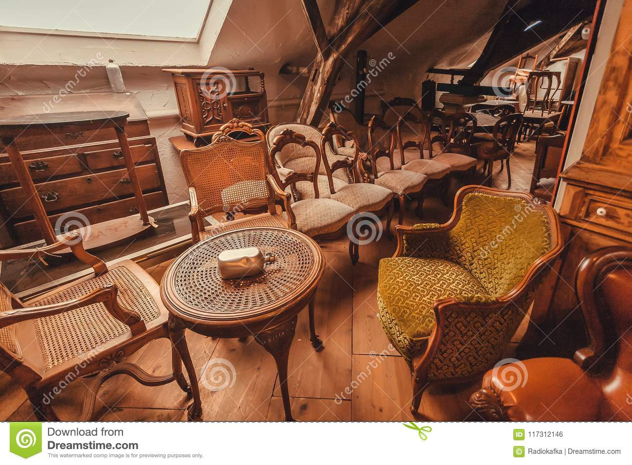 Antique Metal Tables Vintage Armchairs Decoration Wooden Furniture And Retro Details Of Old House Editorial Photo Image Of Armchair Artistic 117312146