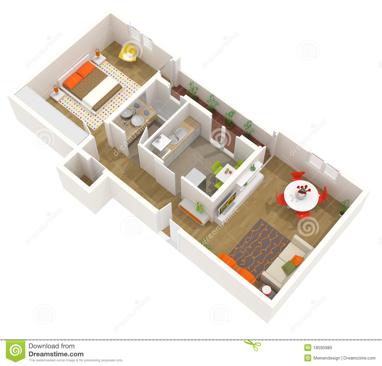 Grundrisse Haus 125 Qm Apartment Interior Design - 3d Floor Plan Stock