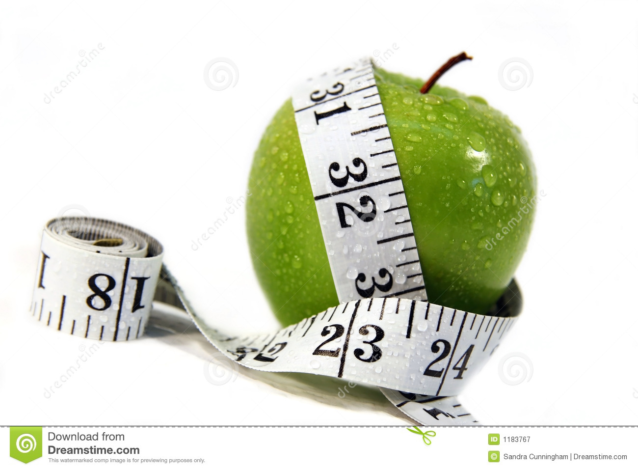Apple And Measurement Tape Stock Image Image Of Inch