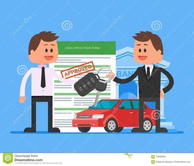Approved Car Loan Vector Illustration. Buying Automobile Concept. Dealer Hand Over Keys To Happy ...