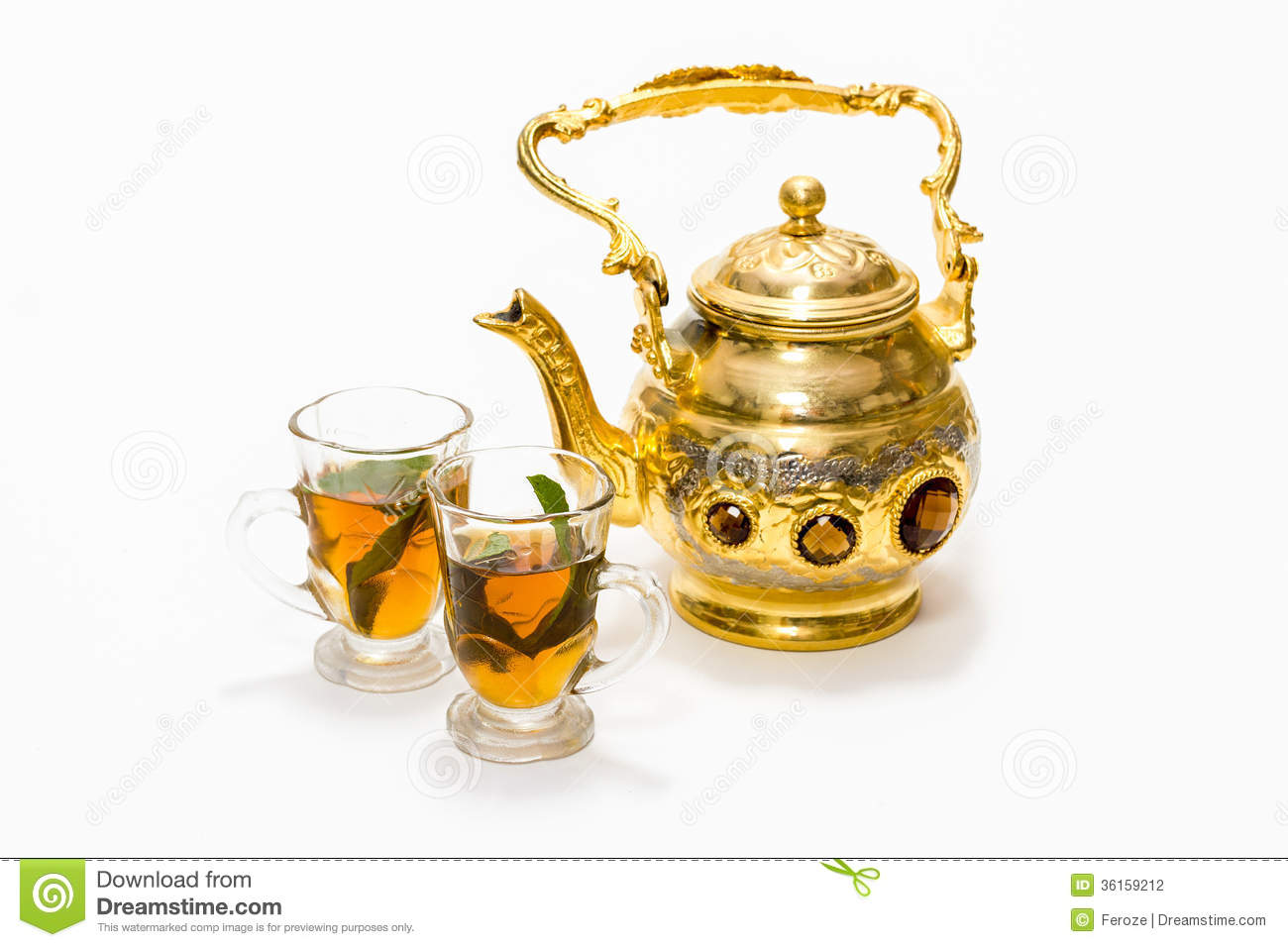 Arabica Tea Coffee Zeist Arabic Coffee Pot And Glasses Stock Photography Image