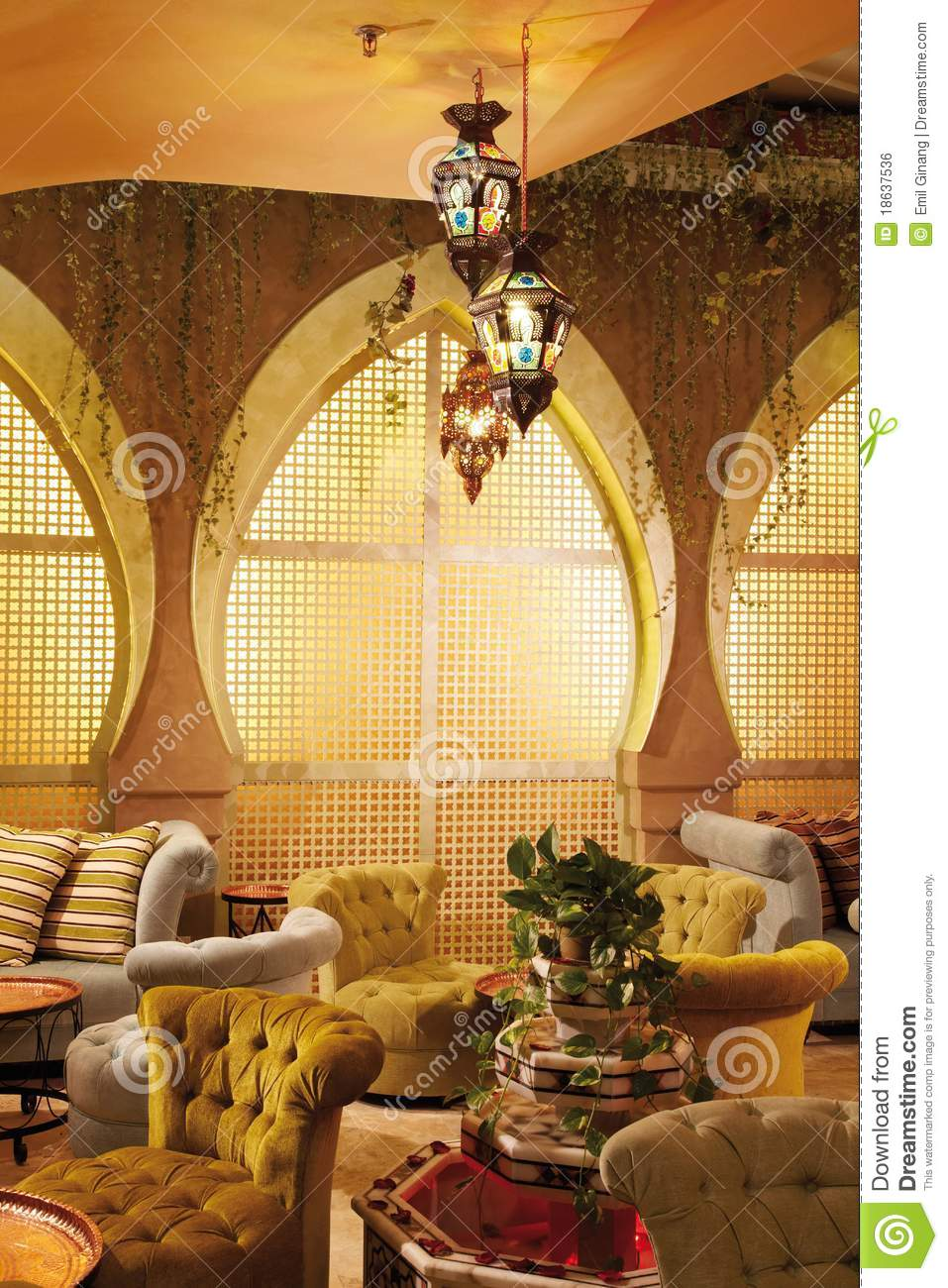 U Couch Arabic Interior Stock Photo. Image Of Living, Decorations