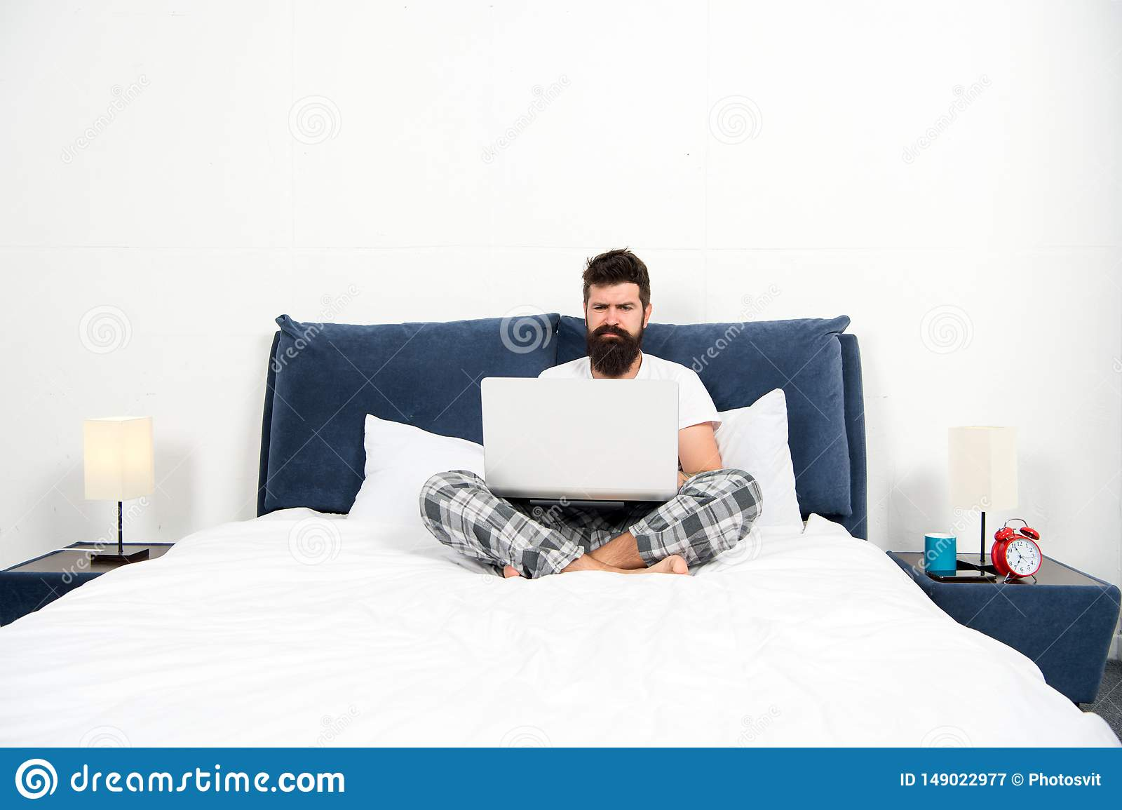 Work That Makes Him Sleepy Bearded Man Hipster Work On Laptop Brutal Sleepy Man In Bedroom Mature Male With Beard In Stockbild Bild Von Work Beard 149022977