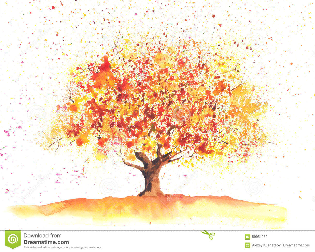 Tree With Leaves Falling Wallpaper Arbre D Automne D Aquarelle Illustration Stock Image