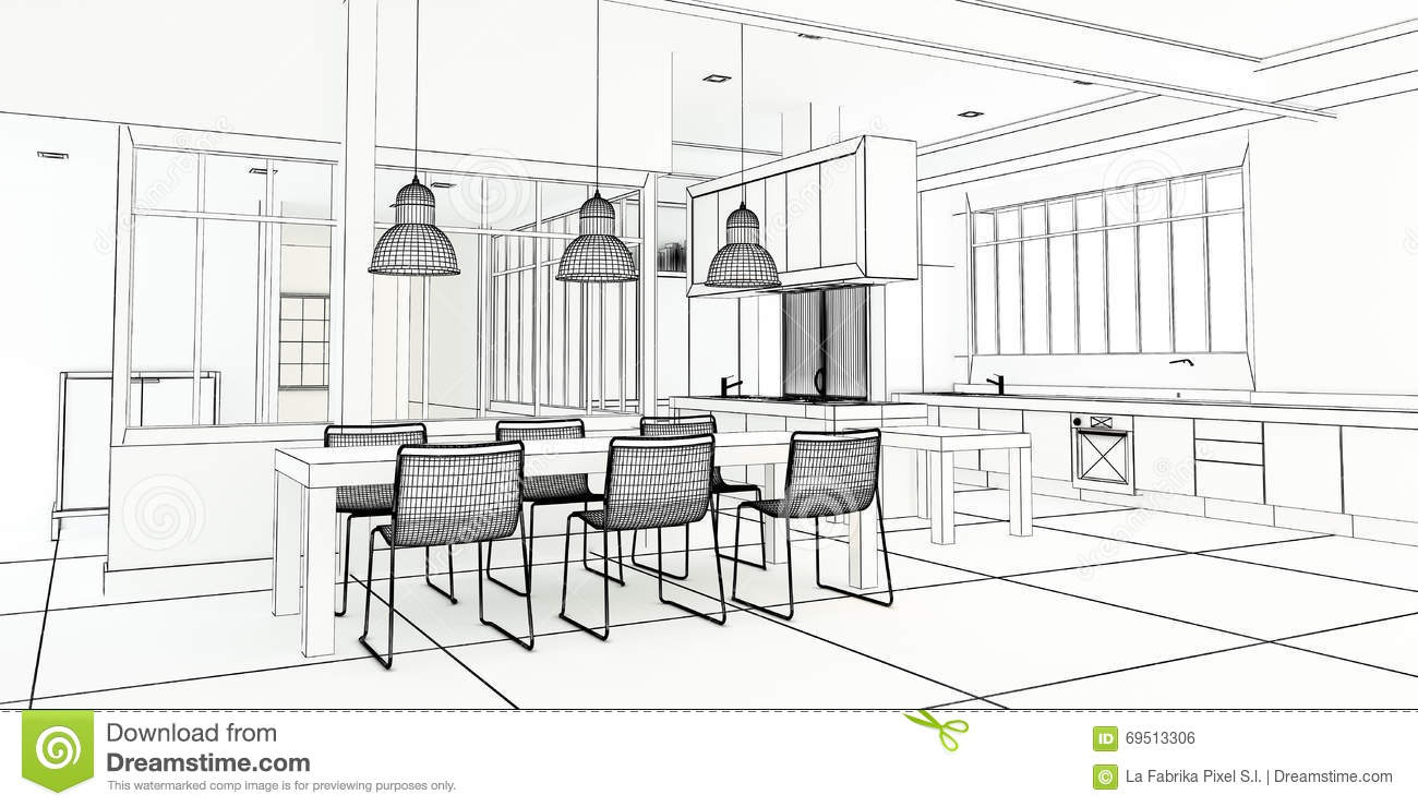 Dessiner Une Salle De Bain En Perspective Architect Plan Impressive Kitchen Stock Illustration