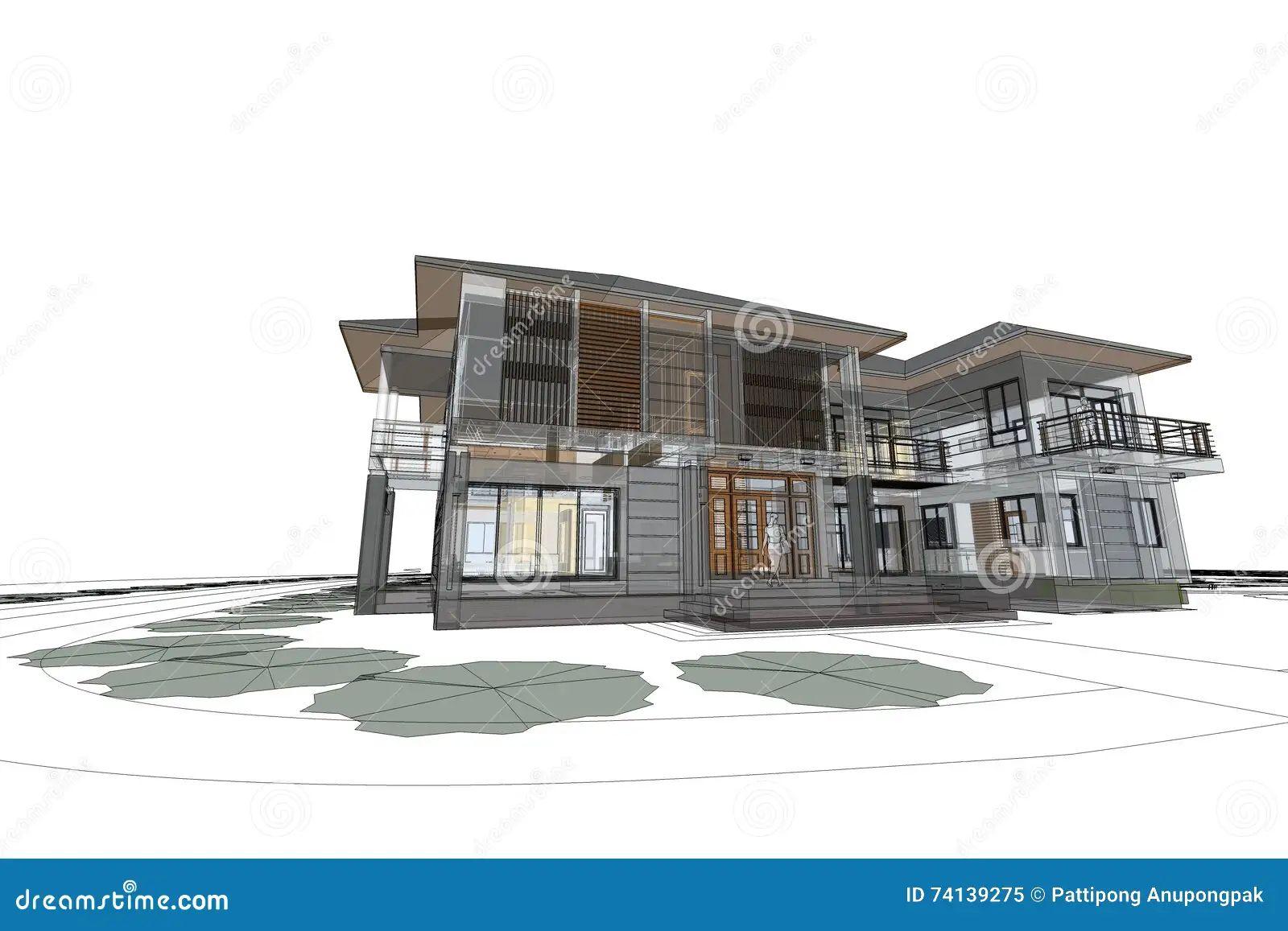 Beautiful architecture moderne maison dessin gallery - Dessin interieur maison ...