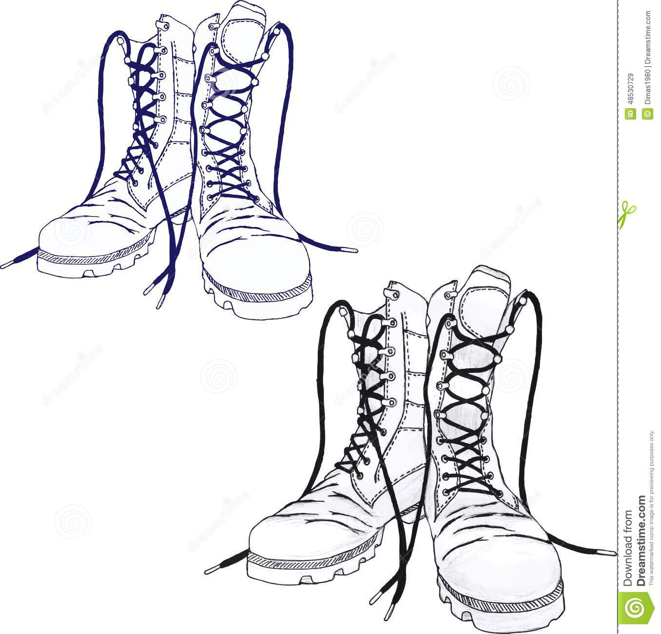 Army Boots Stock Vector Illustration Of Sketch Abstract