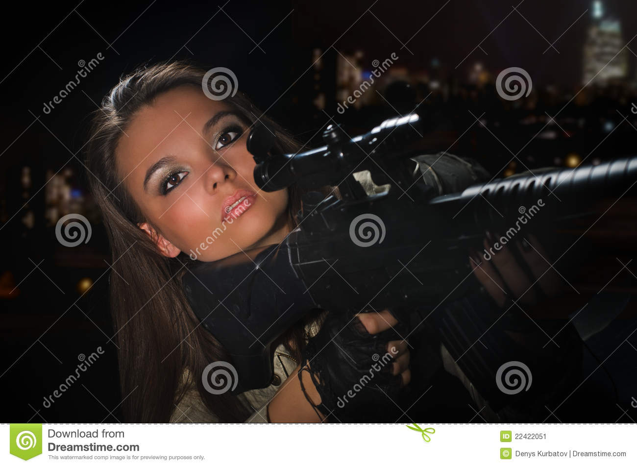 Girl Night Lights Army Girl In Night Lights Stock Image Image Of Commando 22422051